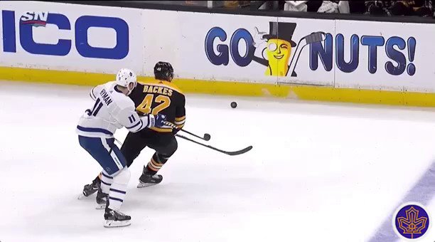 Hyman knocks Backes into the Bruins bench. #LeafsForever
