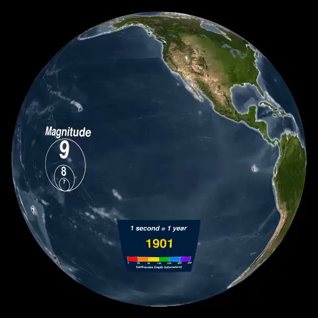 This animation shows all recorded earthquakes of 1901-2000
