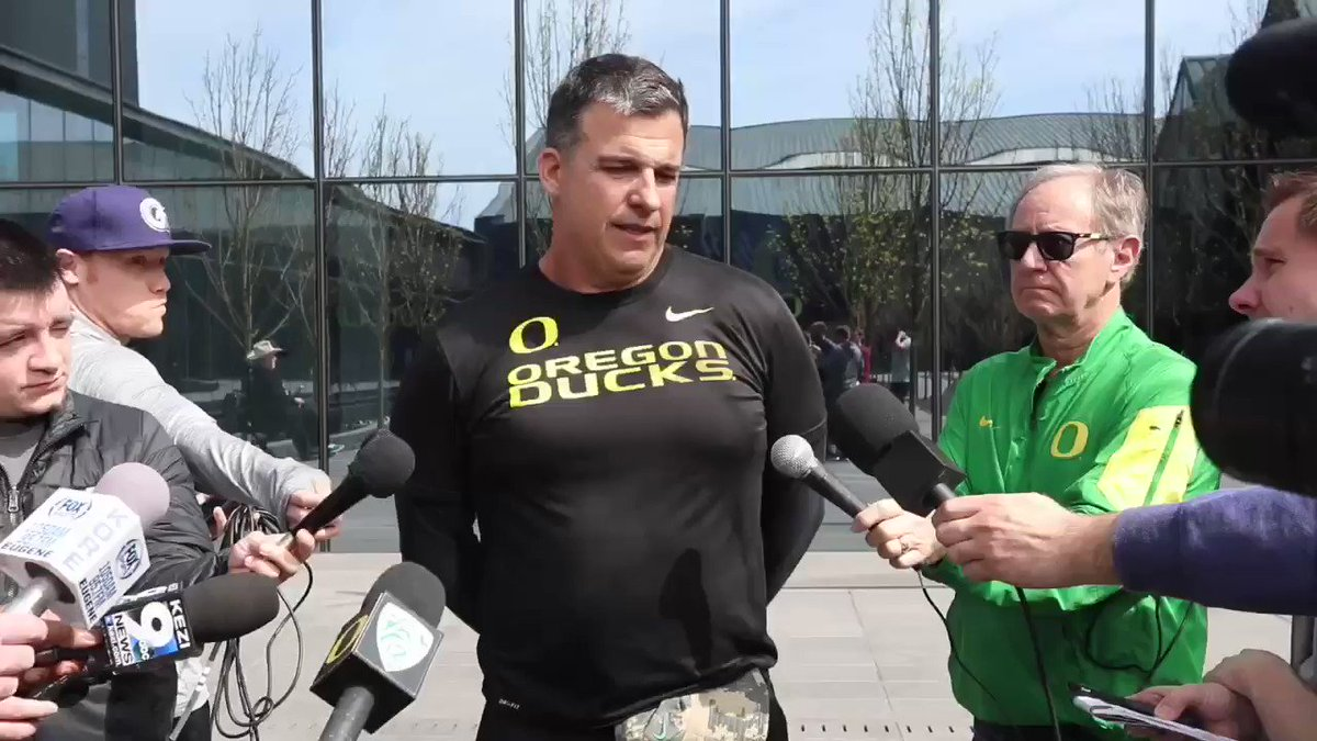 Watch: Coach Cristobal emphatically commits to continuing Oregon's Spring Game honoring the US Military. #GoDucks