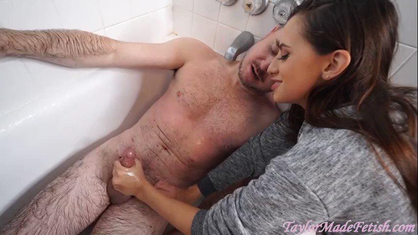 Latina roommate gives creamy handjob