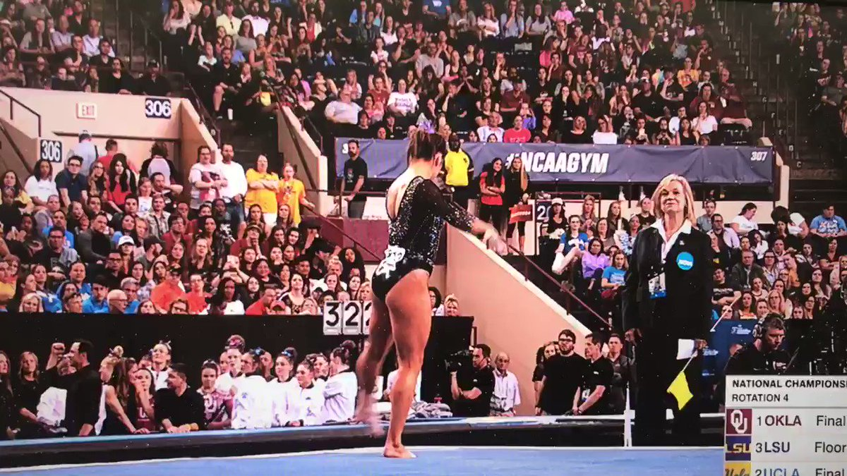 Mary Lou Retton cheers gymnast daughter's near-perfect routine