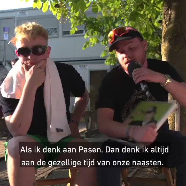"""De eieren vormen de omelet!"" 🥚Fijn Pasen van 3FM, @DuBoyKermit en @rauweboy! 🐰 #PaasWijsheden #Paaspop #3FM – at Paaspop Backstage"
