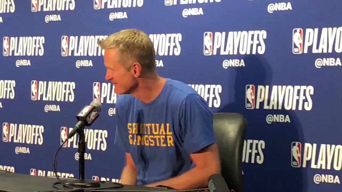 "Steve Kerr... Spiritual Gangster... 😂  ""I was going to wear my 'That's all, Folks shirt, but..."" #Warriors"