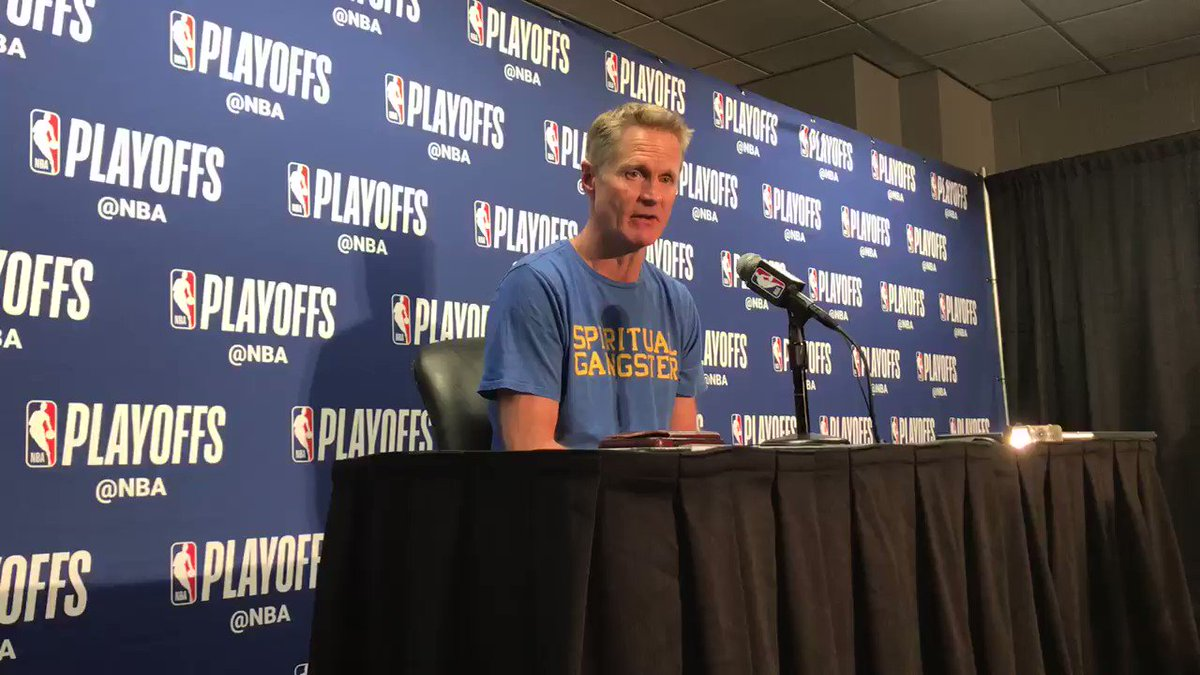 """Steve Kerr with a hilarious Anthony Davis jab here pregame about his """"Spritual Gangster shirt - """"It's just a yoga t-shirt. I was gonna wear my, 'That's All Folks' shirt. I don't pick any of my outfits. Raymond (PR guy) picks them.""""  #Warriors #DubNation #StrengthInNumbers"""