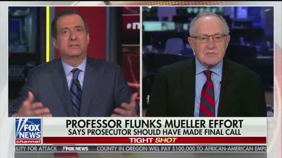 """F grade to media on #Mueller coverage. @AlanDersh: """"A flunk. Even with the grade inflation, I just think the media comes off awful, terrible...I think we are seeing an elimination of the distinction between the editorial page and the news pages...and that's a shame."""" #MediaBuzz"""