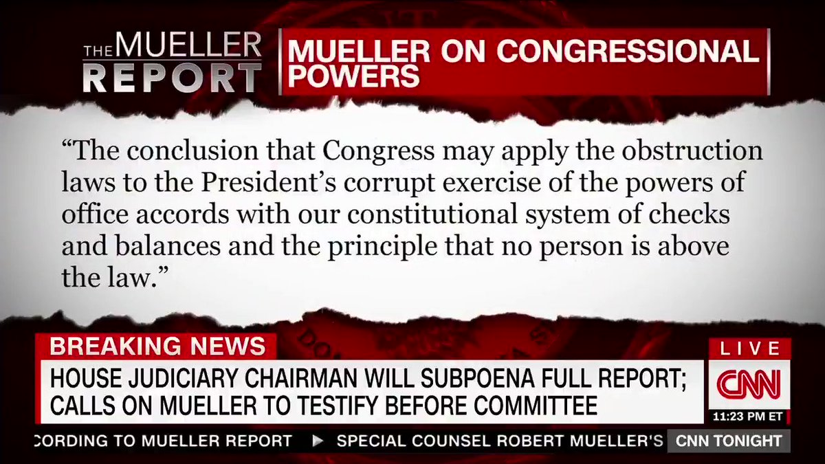 Mueller gave us a road map and we're going to follow it. It's up to Congress to determine obstruction of justice, not Barr.