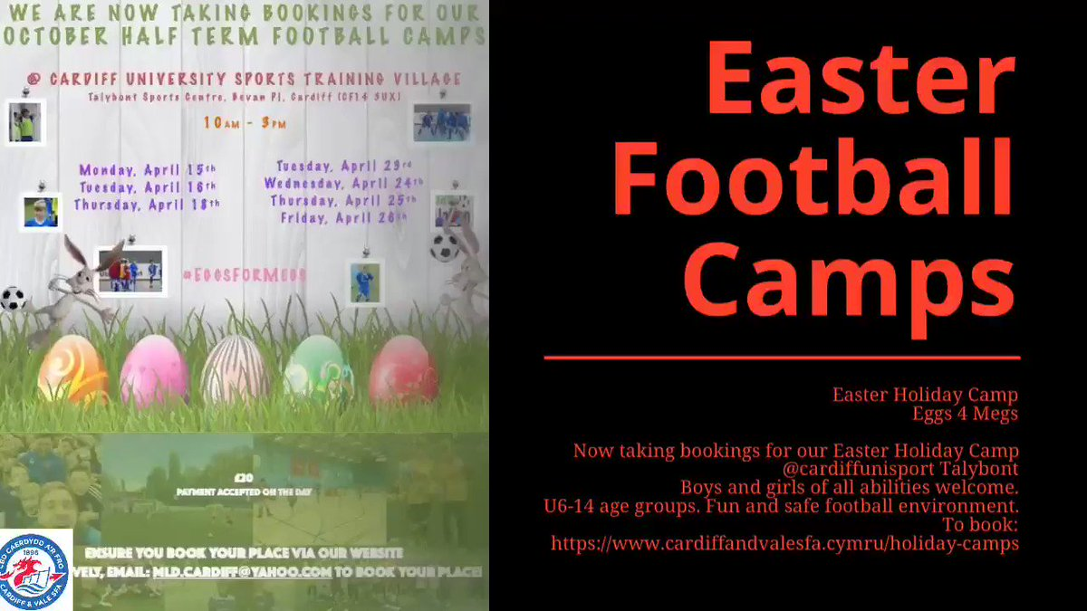 Our Easter Camps start back tomorrow. PREP!!!  Dates: Week 1 :Complete✅ Week 2 : Easter 23/24/25/26 April To book:    http://cardiffandvalesfa.cymru/holiday-camps  @CardiffUniSport @CardiffCityLive @cardiffcouncil @FOR_Cardiff @VisitCardiff @WeAreCardiff   #wales #holiday #footballcampscardiff
