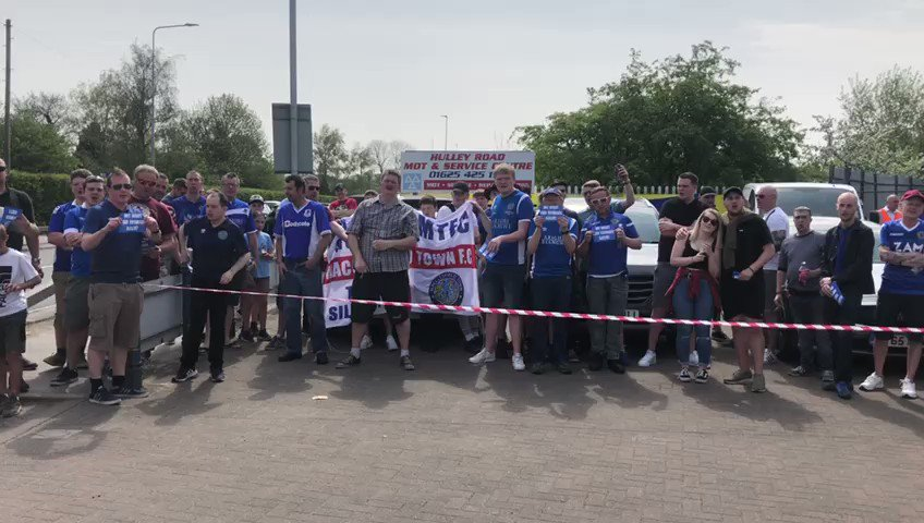 🔵Macclesfield supporters outside the Moss Rose before todays game Theyre protesting against #Silkmen owner Amar Alkadhis decision to close sections of the London Road Terrace 📷@domjdietrich
