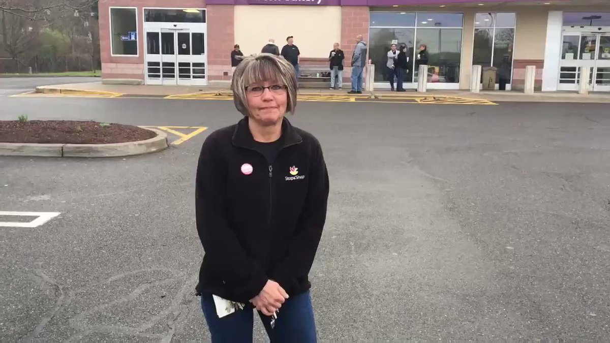 """Judi at the Wallingford @StopandShop is overwhelmed with emotion at returning to work this morning. But she wanted customers to know: """"The only thing that has kept us going is our customers."""" We are so happy to be back at work today and we wouldn't be here without you!"""