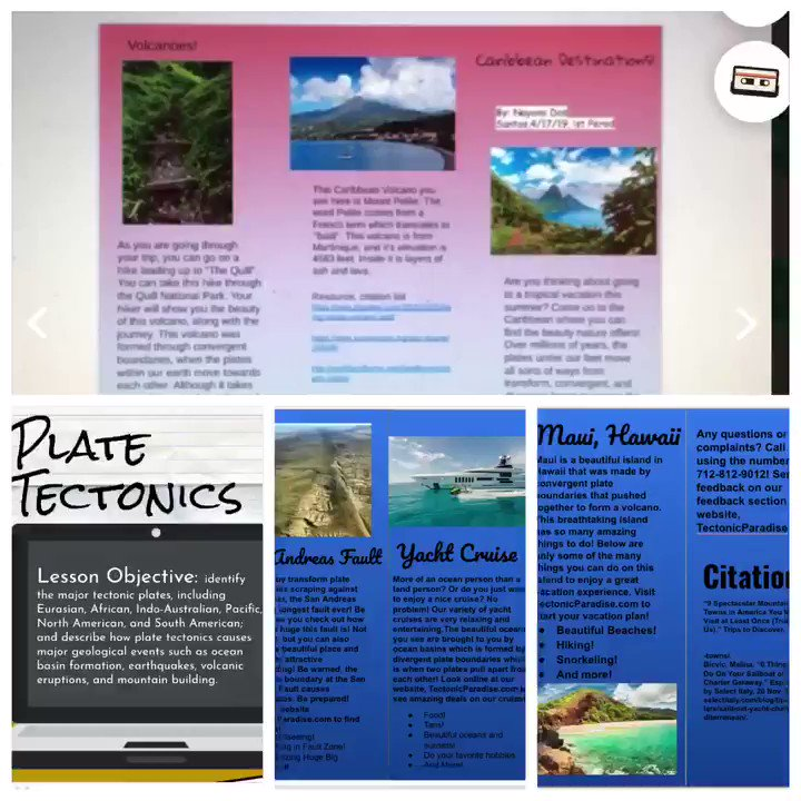 Proud of my kids this week applying knowledge on this PBL through a #hyperdoc on tectonic plates...my fave parts were their brochures & reflections using @Flipgrid and @padlet to help them with their #studentvoice over what they learned and how they think they did @stallions045