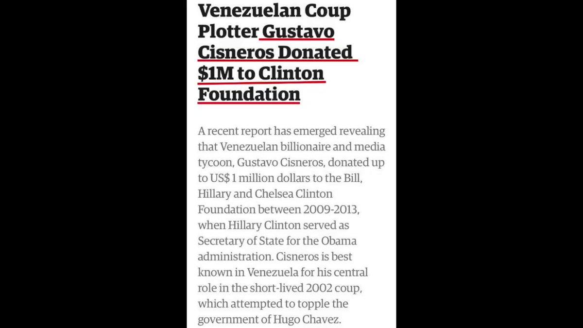 La gran mayoría de los seguidores de la oposición Venezolana no entiende la situación política del país, porque simplemente desconocen la geopolítica mundial. Por ejemplo, Gustavo Cisneros donó $1Millón a Hillary Clinton. Para el opositor en #Venezuela, eso no significa nada.
