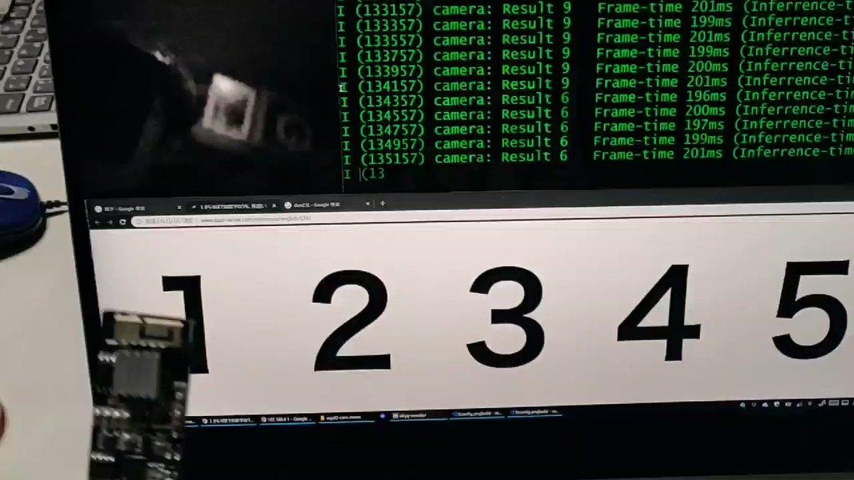 ESP32でカメラが使えた!しかもこの記事のコードを使ったらディープラーニングによる数字認識ができてしまった。やっぱりESP32すげぇよ…