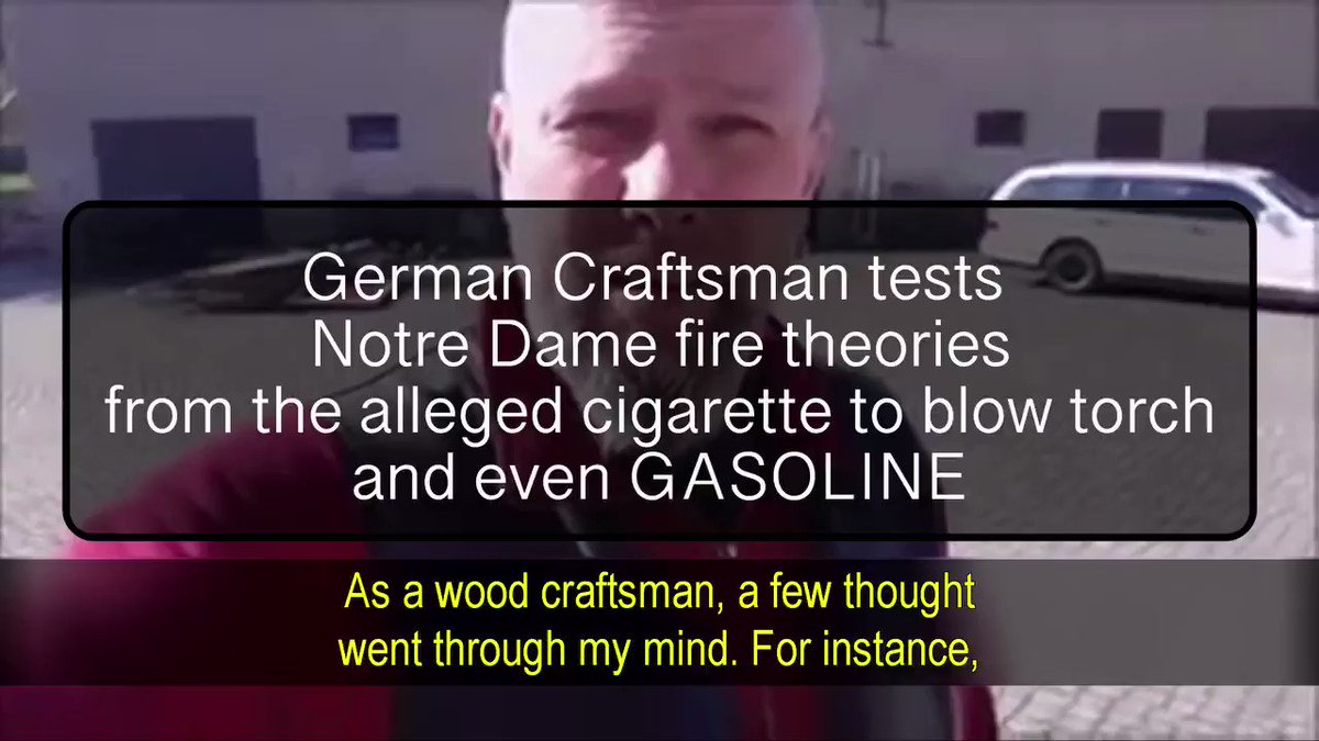 Notre Dame Fire Theories Debunked!  French Experts claim Notre Dame inferno was started by a discarded cigarette  German Craftsman attempts to start fire to an old oak beam with BBQ starter, Blowtorch, Welding rod, gasoline & kindling! ALL FAIL!  FULL VID: https://bit.tube/play?hash=QmdMnfV1Tbyi7jsxKkkH9Lyr7yXY5g6DQjpsDsvwU3TUjH&channel=251530 …