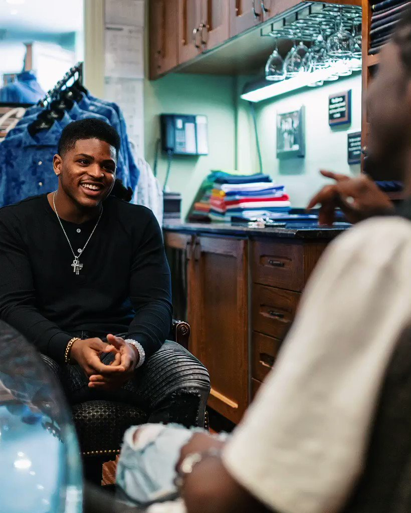 .@UMichFootball LB @_Dbush11 met up with Detroit rapper/artist @DarnellWilliams to pick out his look for Draft night! #NFLDraft