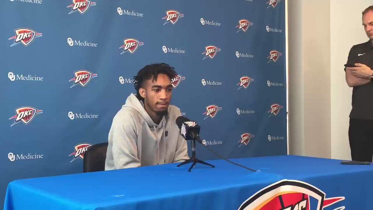 "Terrance Ferguson on what he can do over the summer to take the next step defensively: ""The physicality of the game definitely took a toll on me since I'm so skinny, so build my body up where I can guard 1 though 4 if we're switching..."""