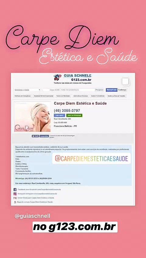 b1e0af929 Carpe Diem Estética e Saúde de Francisco Beltrão no Guia Schnell 🌟 .