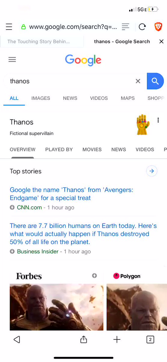 Here's what happens if you google #Thanosand click on the #InfinityGauntlet #AvengersEndgame