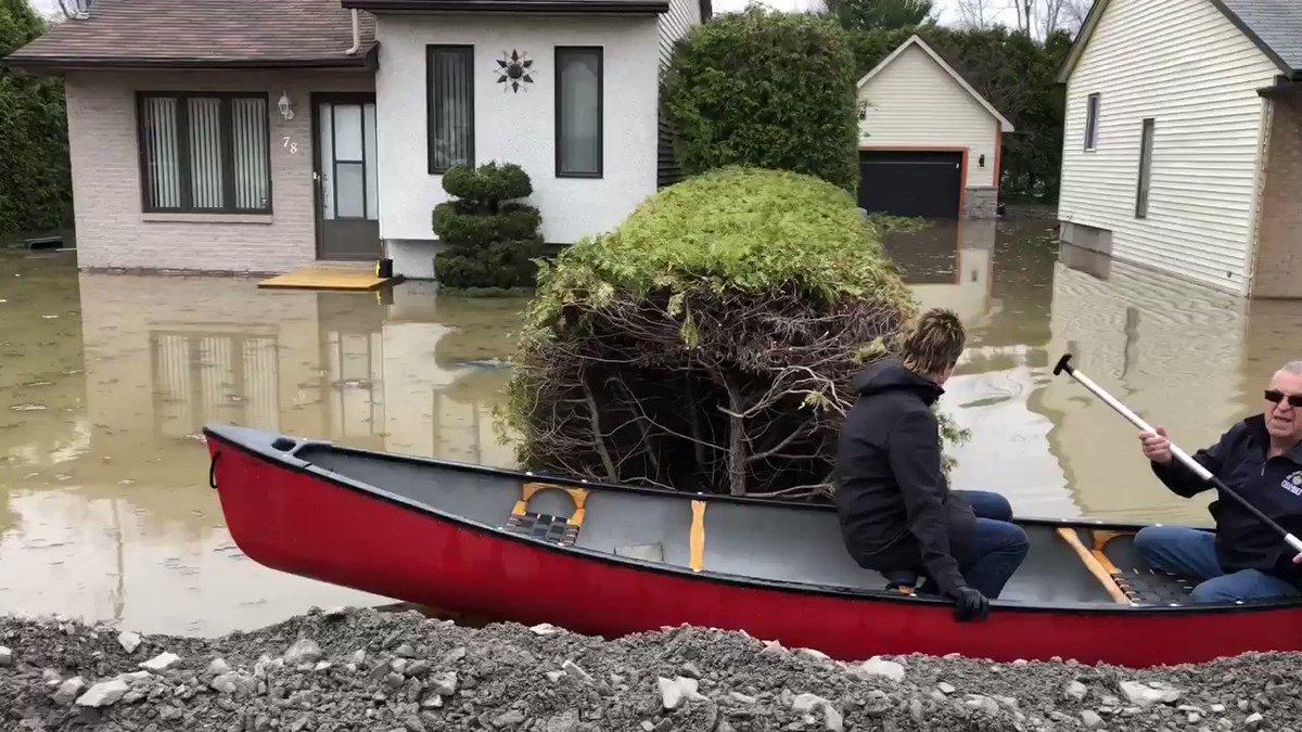 Les sinistrés de Ste-Marthe-sur-le-Lac tentent de sauver quelques biens après qu'une digue ait cédé hier soir #rcmtl #inondations