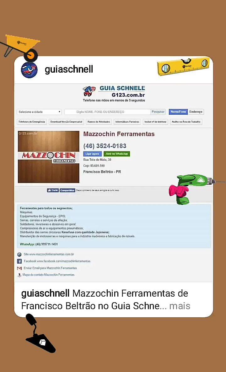 b8a91995d Mazzochin Ferramentas de Francisco Beltrão no Guia Schnell 🔧⚙ . . .   ferramentas