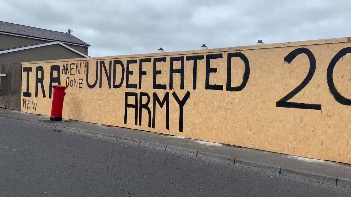 Chilling new graffiti that has gone up overnight in Creggan #Derry following the murder of #LyraMcKee