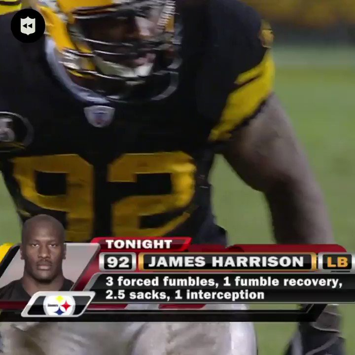 The time @jharrison9292 TOOK OVER against the Ravens:  10 tackles. 6 QB hits. 3.5 sacks. 3 forced fumbles. 1 fumble recovery. 1 interception 😳😳 (Nov. 5, 2007) @steelers