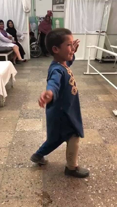 This beautiful boy can't contain his happiness after getting his artificial limb in @ICRC_af Orthopedic center. He had lost one of his legs in a landmine. May he continue to smile throughout his life.