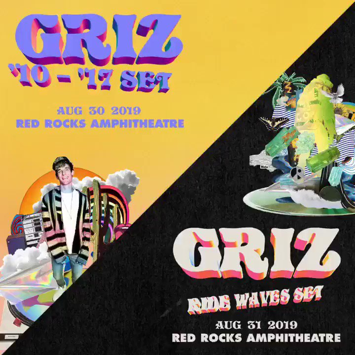 The wait is over! I'll see you lovely humans at Red Rocks on August 30+31 🤗 http://smarturl.it/GRiZxRedRocks  Artist pre-sale begins tomorrow at 10am mt / General on-sale Friday at 10am mt