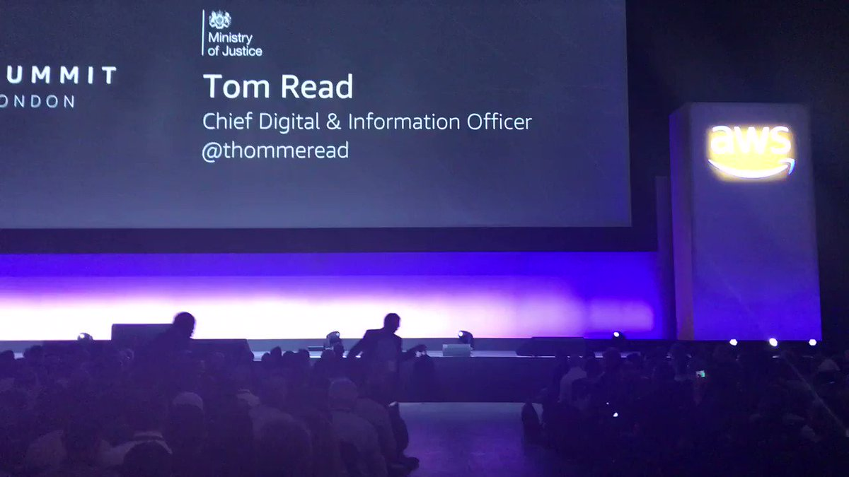 .@thommeread from Ministry of Justice, takes the stage at #AWSSummit London keynote 🇬🇧