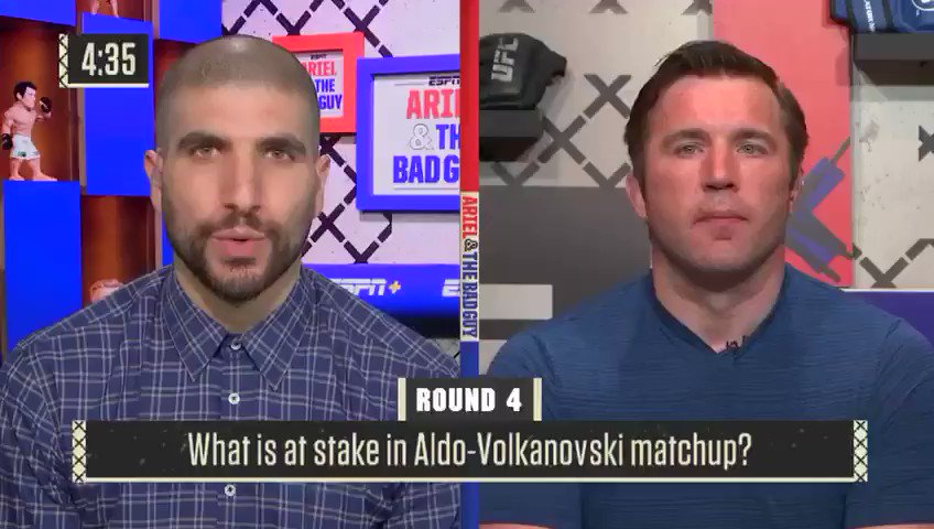 New episode of Ariel & The Bad Guy is up!   Chael and I discuss DC v Jones, Rose to Brazil, Anderson, Volkanovski-Aldo, PFL, 113 memories and more. http://www.espn.com/watch/player?bucketId=13157&id=3ebb6e3d-fcb0-4354-a181-4879c9561b5d…