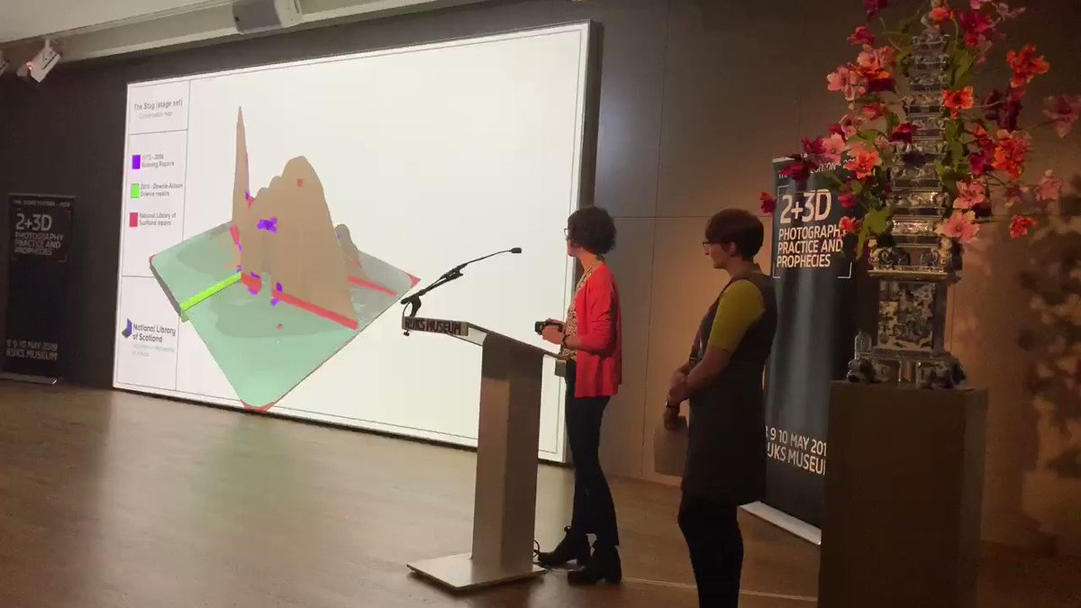 Wow factor session at #2and3D - @CMolinaSanchez @SpectrumDH & Shona Hunter @natlibscot explaining how they digitally recorded a wonderful giant pop-up book & how they developed their innovative interactive 3D conservation map 😍