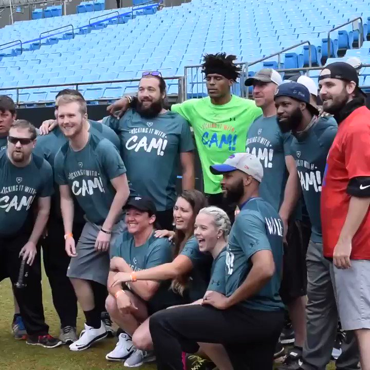 Someone wore a Bills hat to @CameronNewton's charity kickball event.  ... Cam wasn't having it 😅