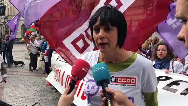 Declaraciones de @garbineespejo en el comienzo de la movilización en defensa del convenio de las compañeras del SAD de @CCOO_CS_EU , sindicato mayoritario en el sector