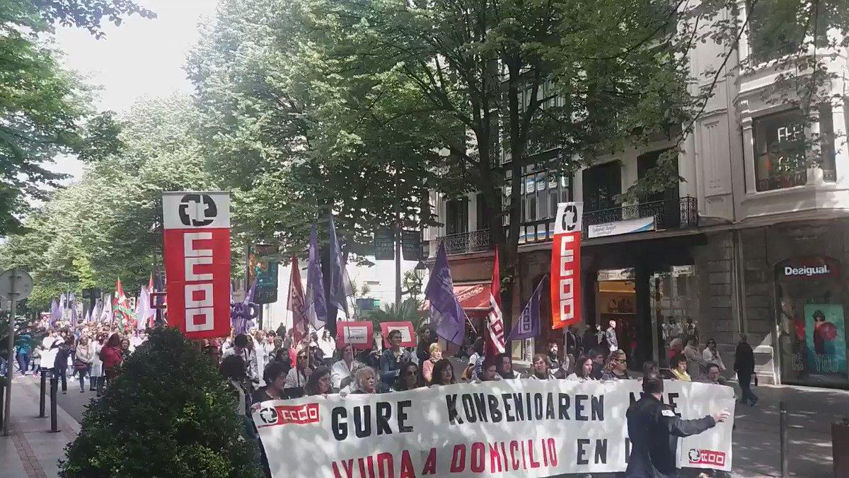 Etxez etxeko laguntza zerbitzuaren kideen manifestazioa hasten da Bilbon @CCOOeuskadi @CCOO_CS @CCOO_CS_EU Borroka ta antolakuntza dira bideak!