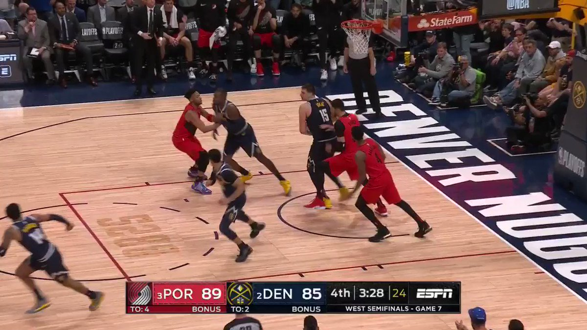 Steal ➡️ relocate ➡️ DAME TIME! ⌚️ #RipCity 94 #MileHighBasketball 87 2:37 left on #NBAonABC