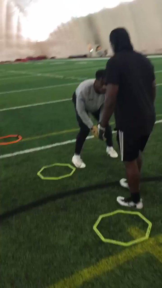 DB Tip: To become a dominant press corner you must master step replace footwork. Getting your trail foot in the ground as fast as possible is key to maintain your initial base and leverage. With a good base and proper weight distribution in your stance you can achieve this.