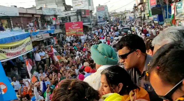 Massive roadshow of @priyankagandhi and @capt_amarinder  in Pathankot, Punjab. #LokSabhaElections2019