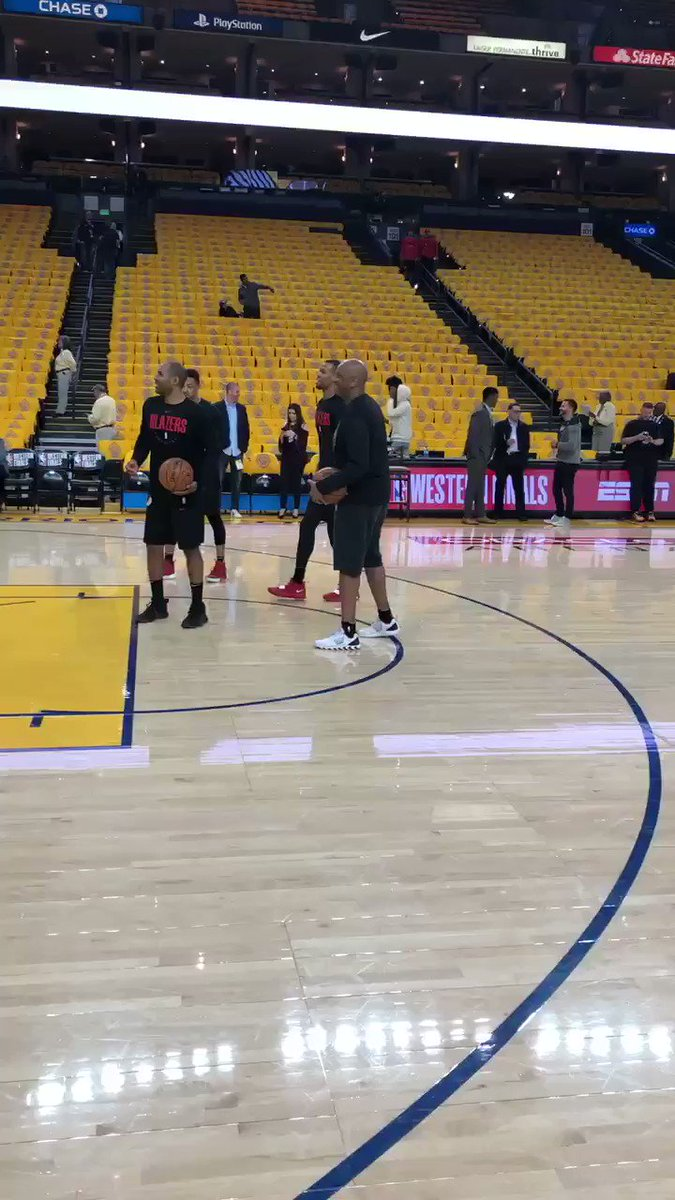 Rodney Hood (knee bone bruise) is out warming up prior to Game 1. Listed as questionable
