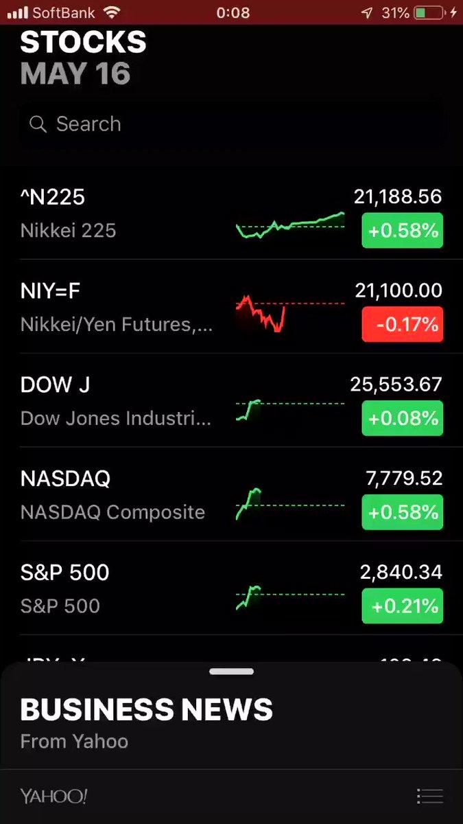 米国株を閲覧できるアプリをいろいろ試した結果、iPhone付属の「株価」が一番使いやすかったです。銘柄一覧の画面でそれぞれのチャートが表示されたり、全期間のチャートを見れたり、ベータとかも載ってたりめちゃくちゃ優秀です?