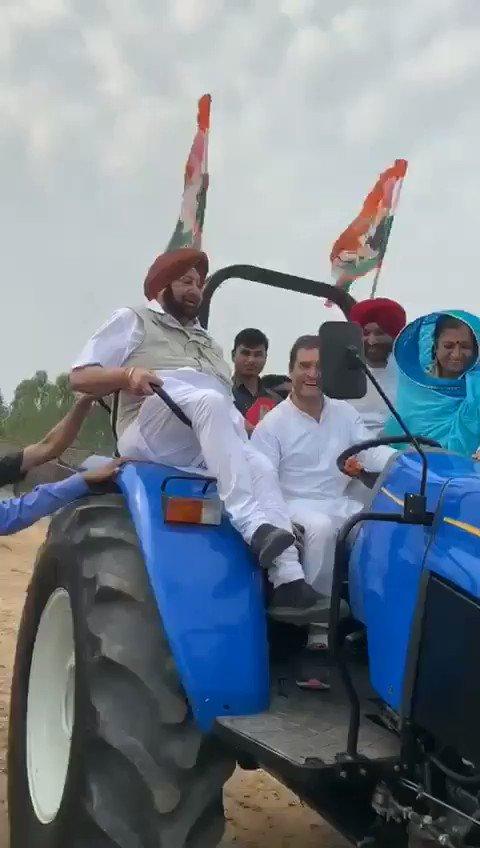 Congress President Rahul Gandhi Drives Tractor With CM Captain Amarinder Singh.  ರಾಹುಲ್ ಗಾಂಧಿಯವರು ಪಂಜಾಬ್ ಮುಖ್ಯ ಮಂತ್ರಿ ಕ್ಯಾಪ್ಟನ್ ಅಮರಿಂದರ್ ಸಿಂಗ್ ಅವರ ಜೊತೆಯಲ್ಲಿ ಕೂರಿಸಿಕೊಂಡು ಟ್ರ್ಯಾಕ್ಟರ್ ಚಲಾಯಿಸಿದರು.