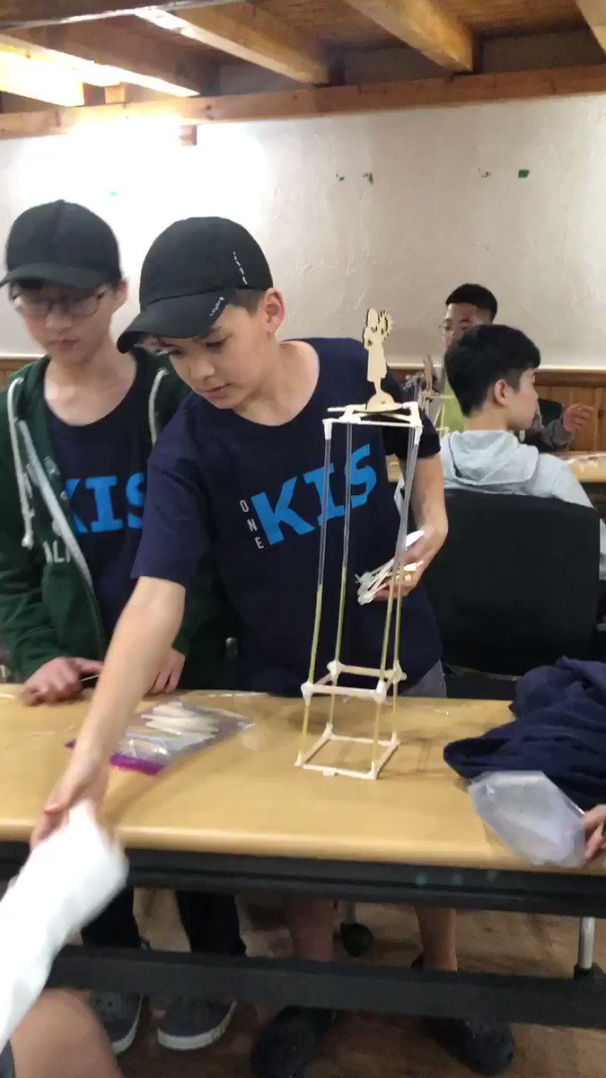 Students yelling, building, testing, succeeding and failing. Zombie siege weapon and tower design challenge from our EE Trip. It was super fun. #kispride #makerspace #teambuilding #making #steam #zombies