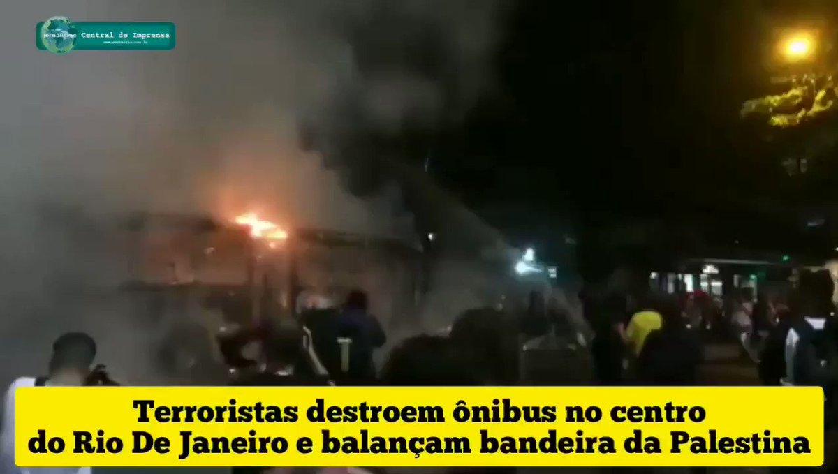 Terroristas integrantes de manifestação política pró Lula Livre, queimam ônibus e mostram bandeira da Palestina.
