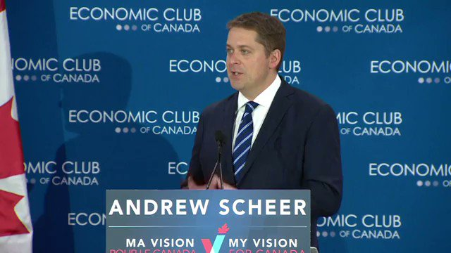 """""""We could have a single corridor – planned up front and in full consultation with the provinces and with Indigenous Canadians who would share in the prosperity that it would provide."""" said @AndrewScheer pledging to build an east-west energy corridor #cdnpoli"""