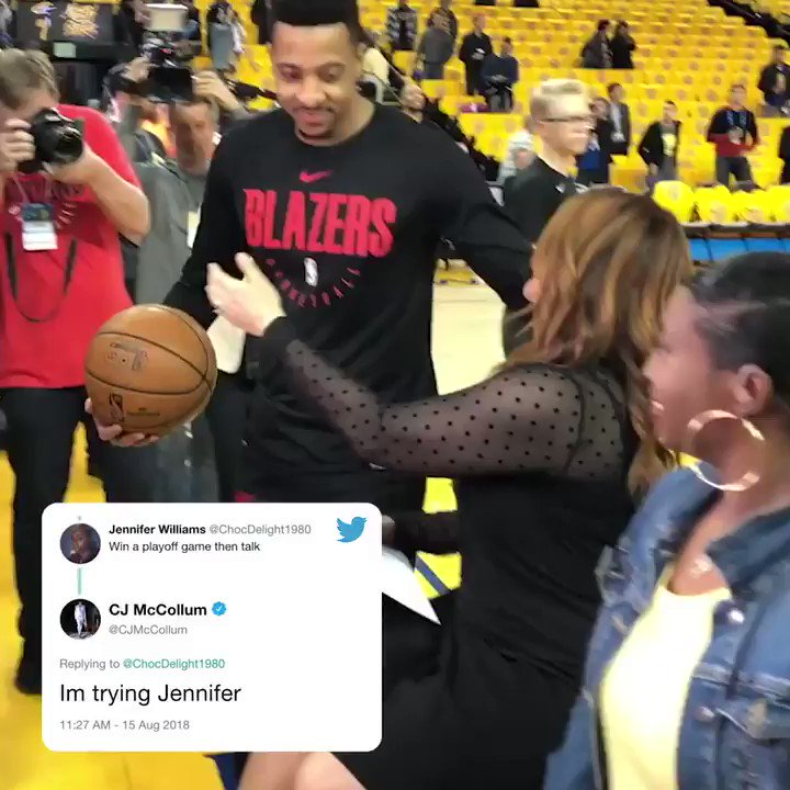 "A historic moment in NBA Twitter history: @CJMcCollum meets ""Im trying Jennifer"""
