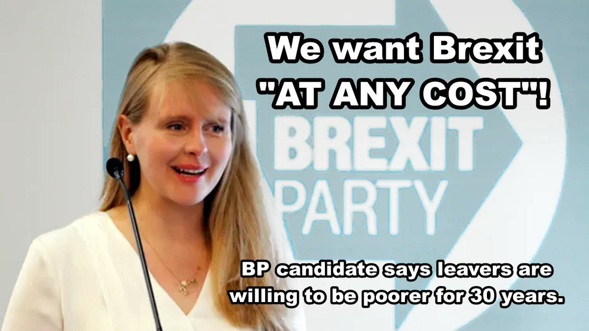 *Must Listen* Lucy Harris(#BrexitParty candidate) - I think short-term there will be an effect on the economy.  Nicky Campbell - How long is short term?   Lucy Harris - 30 years. #WTF   #peoplesvote #EUelections2019 @Femi_Sorry #FinalSay