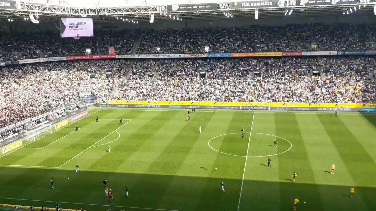 The half time entertainment at Borussia Mönchengladbach includes an acoustic rendition of Liverpool fans Allez Allez Allez chant.