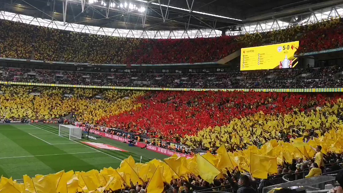 Watford fans react to going 5-0 down. Unbelievable.#WatfordFC #FACup #FACupFinal