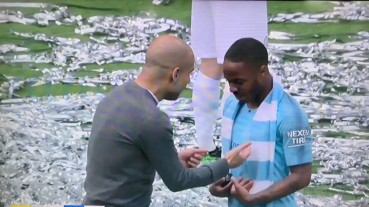 Manchester City complete a historic mens treble 🏆🏆🏆 and this is Pep Guardiola after the final whistle with his side having just won 6-0. This is what relentless desire for perfection looks like 🙌🏽