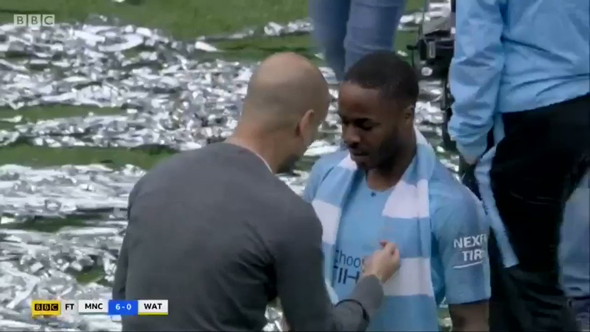 Pep Guardiola lecturing Raheem Sterling on the pitch amid the celebrations, despite scoring a hat-trick* (& winning 6-0). That's what separates him from the rest. Crazy, but genius. #MCFC #FACupFinal 