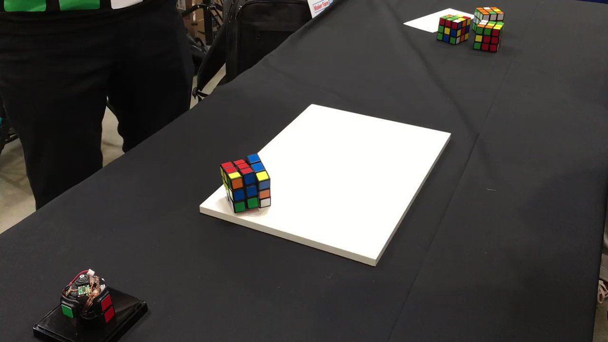 Loved this self-solving Rubik's Cube in Expo Hall #mfba19