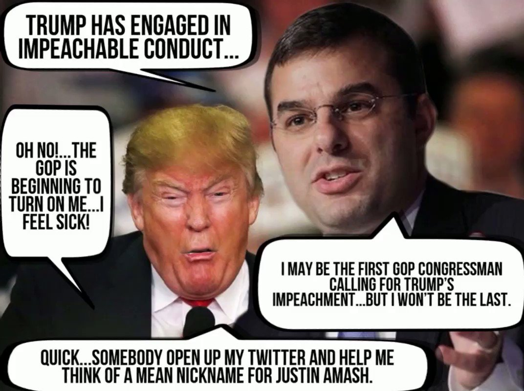 """Justin Amash"" is the first GOP Congressman calling for Trump's Impeachment.🙌👊👍  Trump's lawlessness is impossible to ignore. In the days to come there'll likely be more who'll stand up 2 Trump & protect the nation & democracy from a lawless mobster. #JustinAmash #Justinamash"